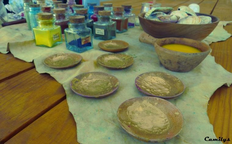 pigments et poudre d'or